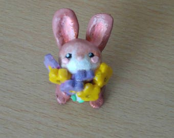 Spring Bunny polymer clay figure
