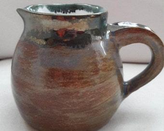 Small Thrown ceramic Blue/Brown/Metallic Jug