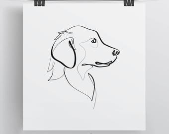 Golden Retriever Print | Original One Line Art | Minimal Dog Drawing | Dog Drawing | Golden Retriever Art | Line Drawing | Pup Art Gift