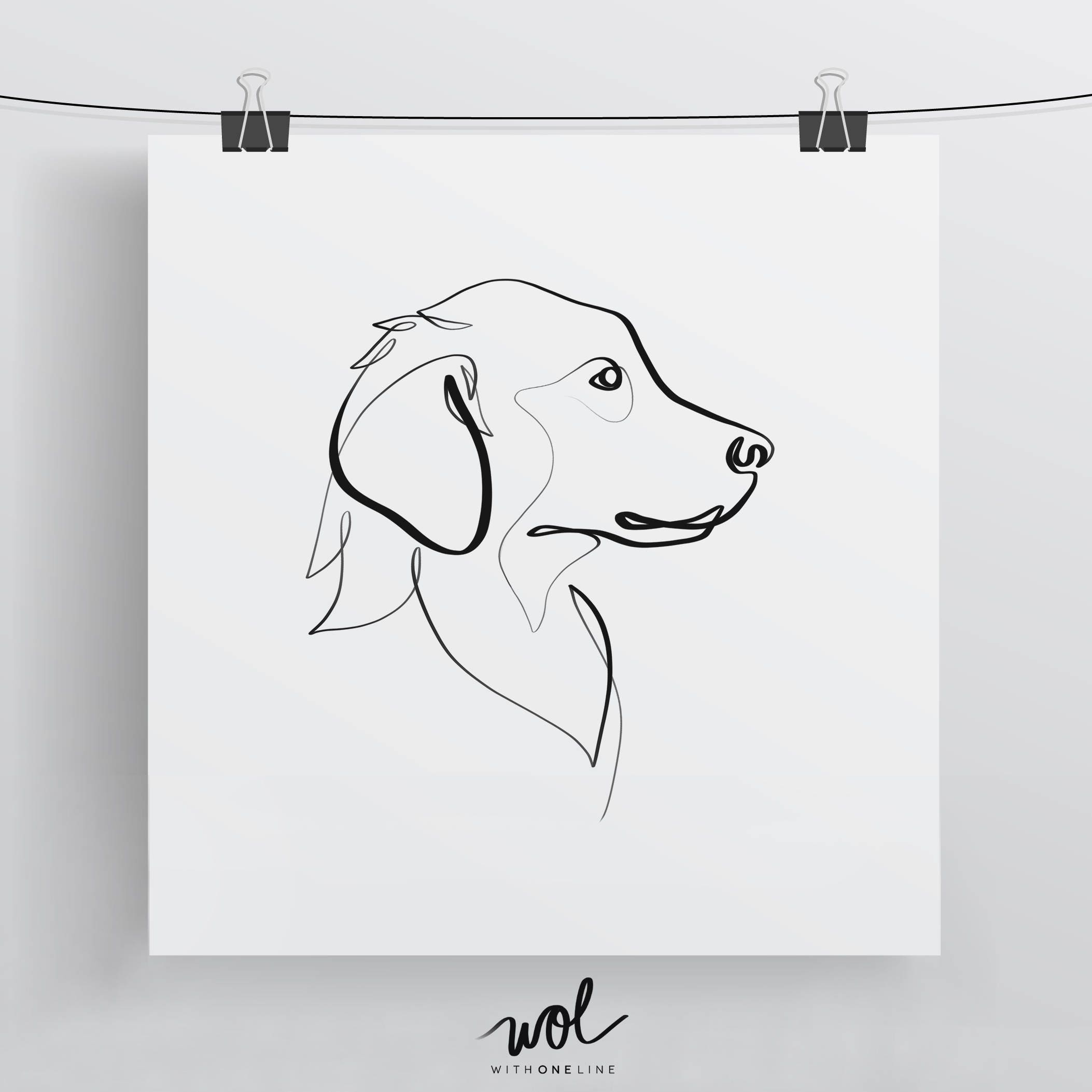 Line Drawing Of Dog : Golden retriever print original one line art minimal dog