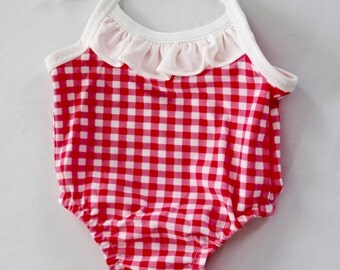 Baby Girl Pink Gingham Check One Piece Swimsuit