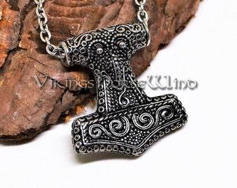 Thor's Hammer Necklace, Mjolnir Necklace, Vikings Raven Head Thor Hammer Pendant, Mjolnir Pendant, Viking Jewelry, Celtic Jewelry, Asatru