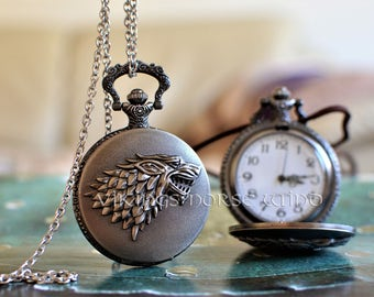 Direwolf Antique Pocket Watch House Stark Sigil Necklace Game of Thrones Wolf Pendant GoT Necklace John Snow necklace