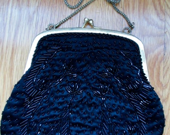 Vintage Black Hand-Beaded with Gold Trim Evening Bag with Chain Shoulder Strap