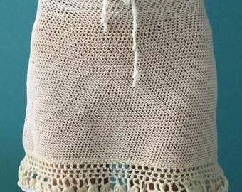 Cream crochet knit skirt