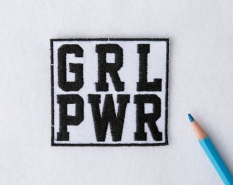 Girl power patch Black patches Mini patches Embroidered patch Iron on Bag patch Large patches Iron on patch Feminist patch Jacket patch 038
