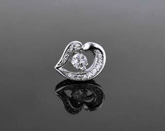 Sterling Silver Heart Dancing White Sapphire Pendant, Dancing Stone