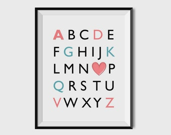 Alphabet Print,ABC Print, Nursery Decor, Nursey Wall Art, Nursery Print, 8x10, 11x14