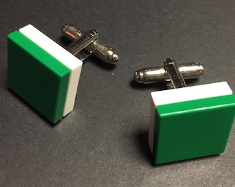 Lego cuff links - Green on White