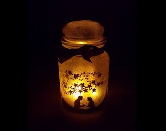 Disney Tangled Rapunzel Inspired Silhouette Fairy Lantern Candle Nightlight Jar