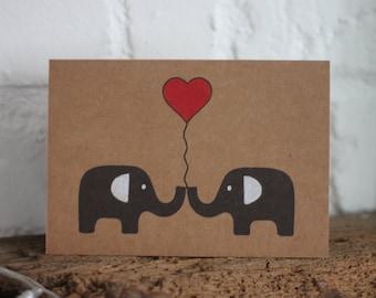 Handmade Elephants Love Card