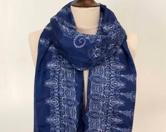 Soft Scarf, Blue Scarf with White Pattern, Indian Scarf, Ethnic Scarf, Tribal Scarf, Elegant Scarf, Summer Scarf, Women Scarf, boho Scarf