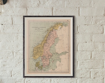 Map Of Sweden Norway and Denmark Digital 1892 Online Maps Printable Instant Download