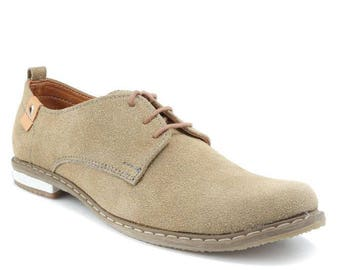 Men Handmade  Oxford  in Leather and Mustard Suede - Shoe