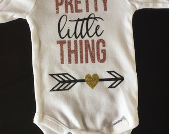 Pretty Little Thing baby onesie, coming home outfit, baby announcement, baby shower gift, one-piece, body suit