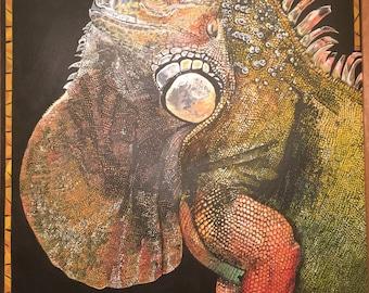 Photorealistic Acrylic Iguana Print