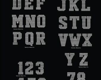 Huge College Sport letters Alphabet and digits digital download, svg, eps, studio3, png, dxf rhinestone template