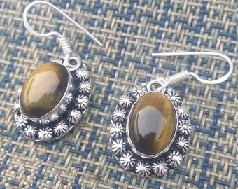 Tigerseye Sterling Silver Earrings