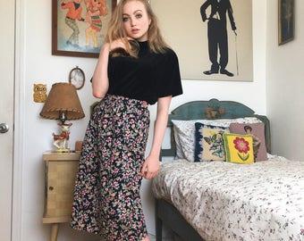 Black Floral Knee Length Skirt