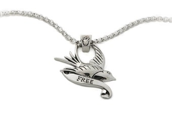 Swallow, Tattoo Inspired, Pendant, Sterling Silver