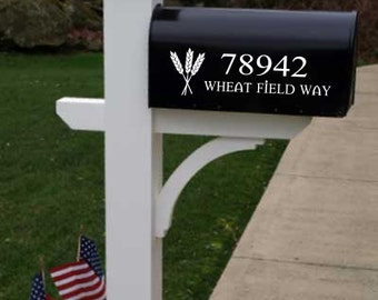 Mailbox number decal with wheat