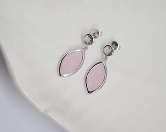 Ear drops in pink silver plated