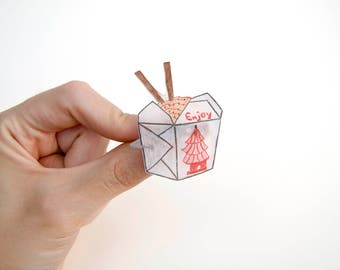 Chinese Take Out Food Box - Plastic Brooch Pin - Handmade - Shrinkable Plastic
