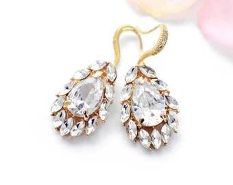 Bridal crystal earrings, Gold, bridal jewelry, crystal drop earrings, vintage style, bridesmaid jewelry, cubic zirconia, wedding jewelry