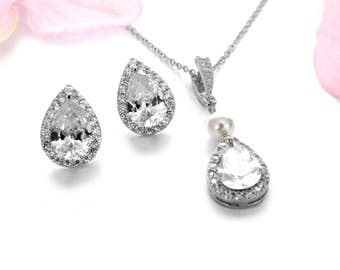 Bridesmaid jewelry set wedding jewelry set wedding accessories CZ necklace earings set teardrop necklace, teardrop earrings bridesmaid gift