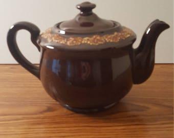 Vintage Brown Ceramic Tea Pot