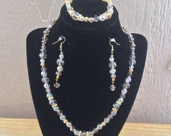 69: Necklace, Bracelet, Earrings Set