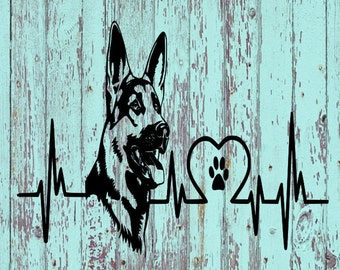 German Shepherd Heartbeat Decal/German Shepherd/Shepherds/Decals