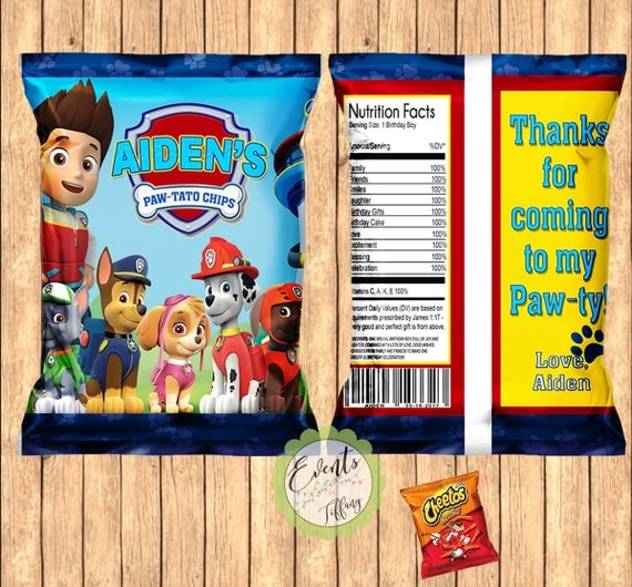 paw patrol inspired chip bags paw patrol inspired favor bags. Black Bedroom Furniture Sets. Home Design Ideas