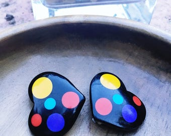 Vintage Colorful Black Heart Earrings