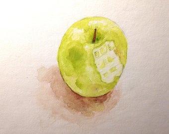 Painting: a Bitten Apple - Watercolour
