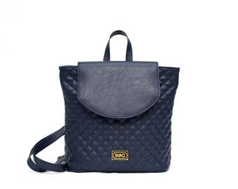 Blue Quilted Backpack / Gold Metallic Details