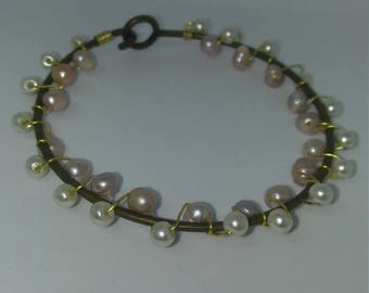 Wire wrapped pink & white pearl bangle bracelet
