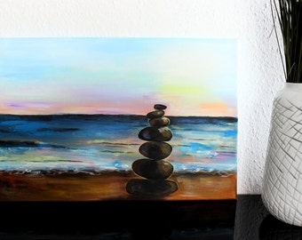 Acrylic Painting on Canvas - Rocks on the Beach, Sunset, Waves, Colorful, Dreamy