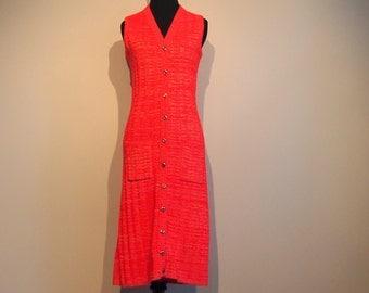 Vintage 1970's Sweater Vest; 70s Midi Dress