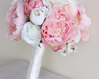 Silk Bride Bouquet Peony Flowers Pink Peach Spring Mix Shabby Chic Wedding Decor (1017)