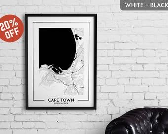 CAPE TOWN map print, Cape Town poster, Cape Town wall art, Cape Town city map, Cape Town map decor, Cape Town decoration, Cape Town gift