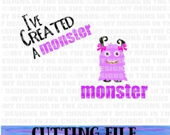 SVG File/ Cutting File/Mommy and Me Cut File/ Cutting File for Silhouette/ Girl monster cutting file cricut/Mom set/Mom and Me set svg