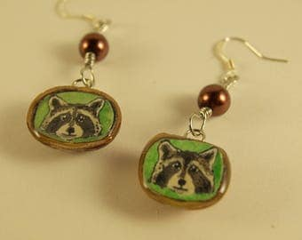 Greenwood Green Raccoon Earrings