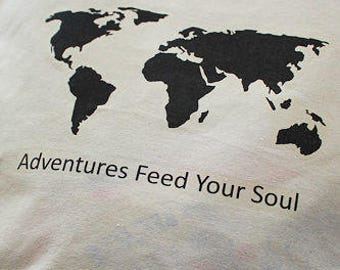 Adventures Feed Your Soul - Organic Cotton Shoppers Bag - World - Map - Shopping bag - Tote Bag - Adventurer - Wanderlust - Market Bag