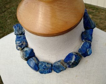 Lapis Natural Stone Chunk Statement Necklace