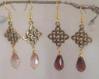 Pink earrings amethyst earrings drop earrings dangle earrings long earrings Chinese knot earrings purple earrings