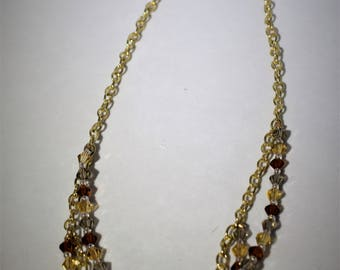 Multi-strand amber glass bead necklace. gold tone  chain, glass beads mom sister daughter girlfriend gift handmade jewelry birthday  sparkle