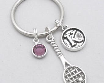 Tennis racket vintage style initial keyring | tennis keychain | personalised tennis keyring | tennis accessory | tennis gift | letter