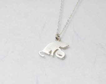 Cat staring at the fish 925 sterling silver necklace