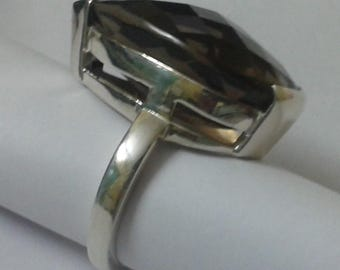 925 Silver Ring With Smoky Quartz Stone